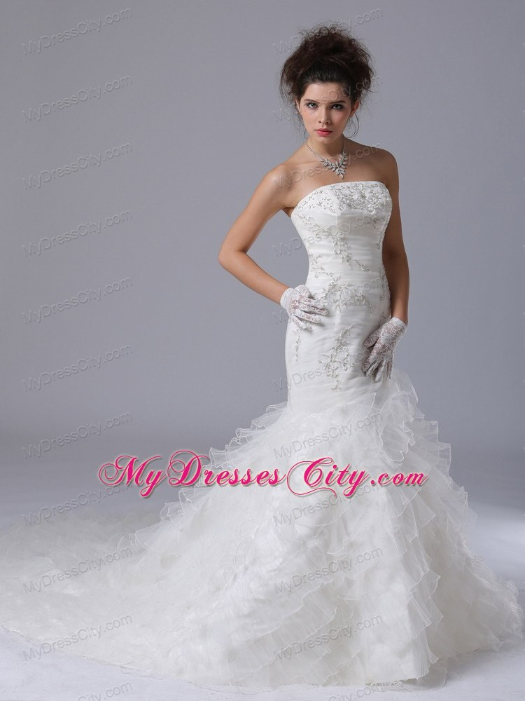 Mermaid Layers Court Train Wedding Dresses With Button