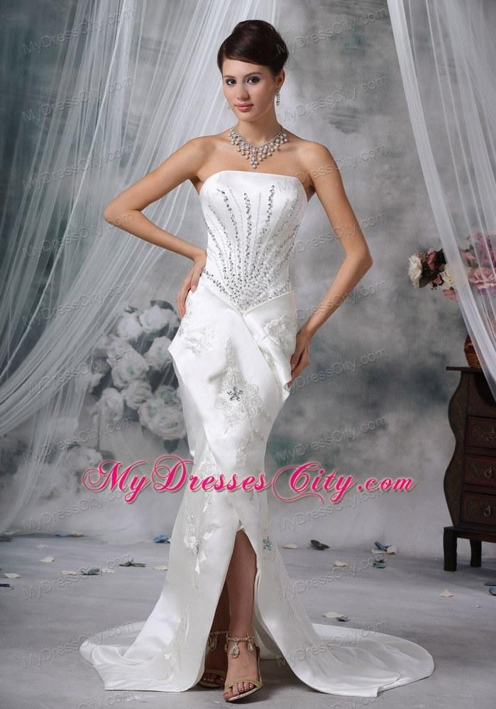 Mermaid Strapless Court Train Satin Beading Wedding Dress ...