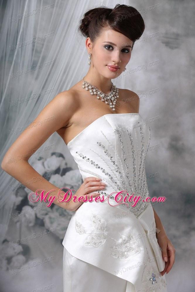 Wedding Dresses With Jewelry : Court train satin beading wedding dress with high slit mdcffxd