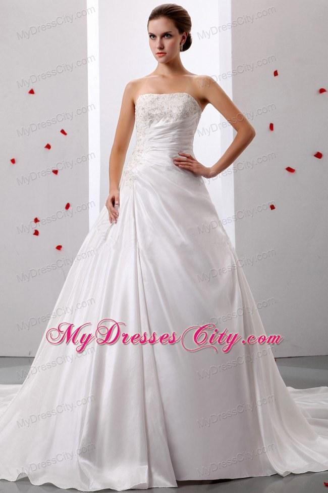 princess taffeta appliques and ruche decorate bridal dress