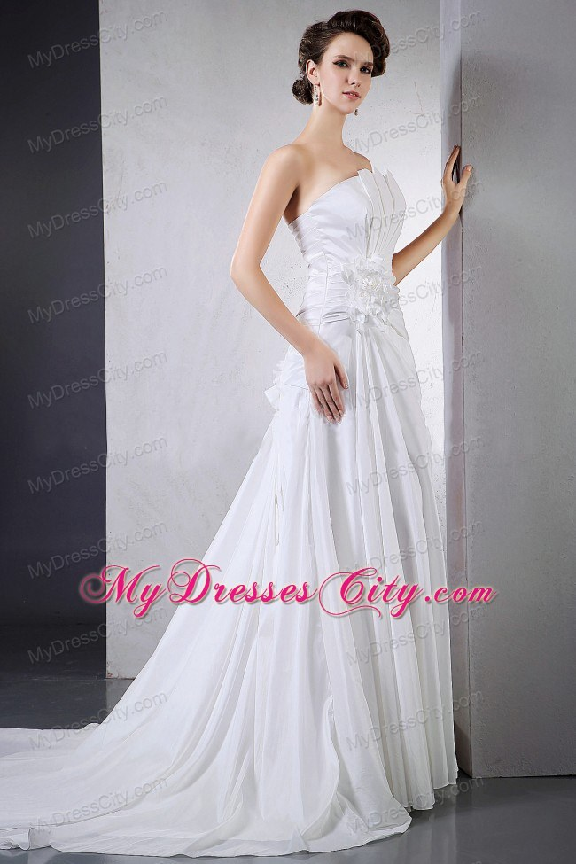 A line ruching chapel train hand made flower wedding gown for A line wedding dress with ruching
