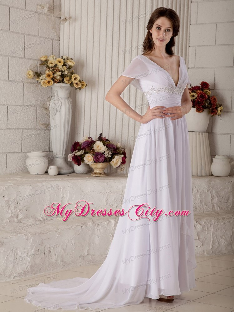 Empire Off-the-shoulder Sash Wedding Dress with Short Sleeves ...