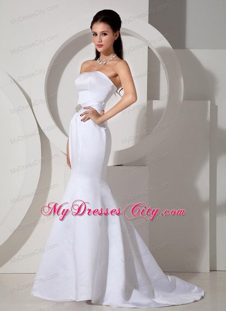 strapless mermaid brush train beading sash bridal dresses