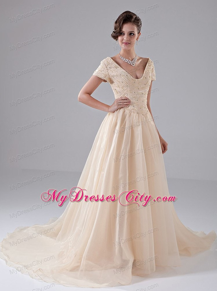 Diamonds short sleeves champagne court train bridal gown for Short champagne wedding dress