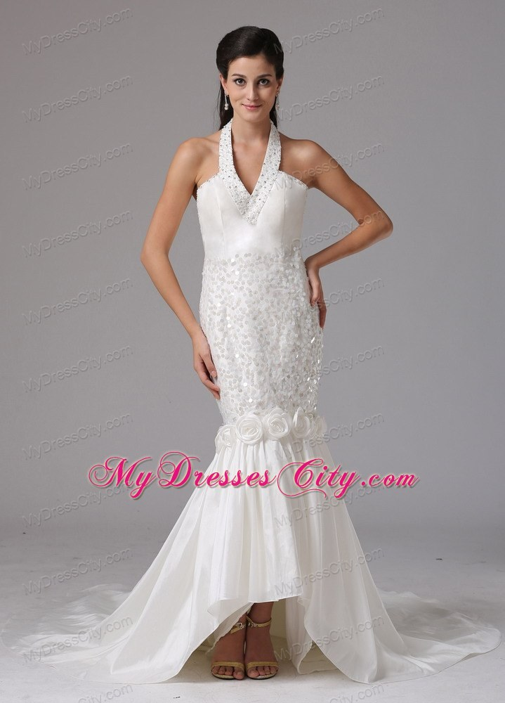 Mermaid Halter Asymmetrical Bridal Gown With Beading and ...