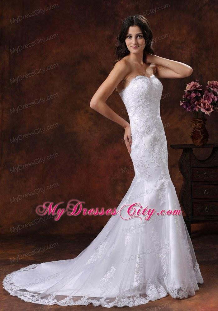 mermaid strapless court train lace luxurious 2013 wedding