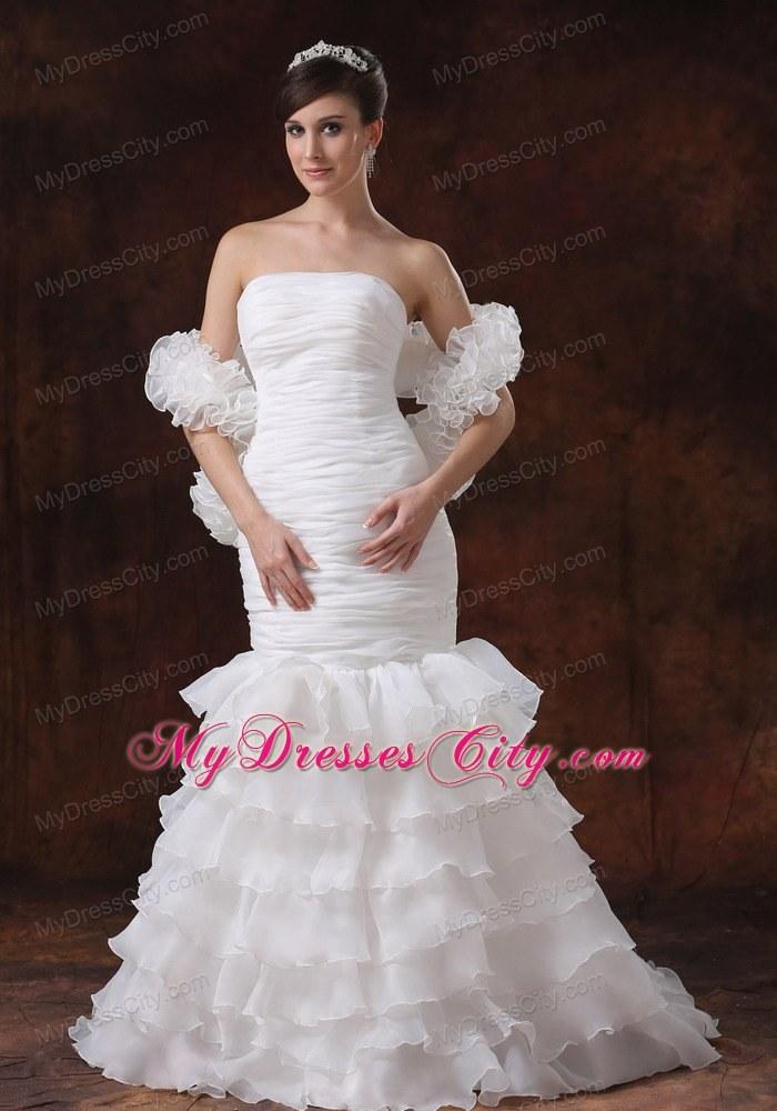 Mermaid Brush Train Organza Ruching Wedding Dress With Ruffled Layers