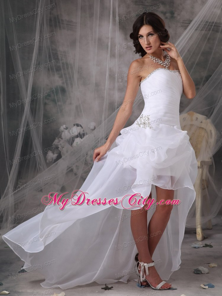 White Strapless High-low Wedding Gowns with Beading and Pick-ups ...