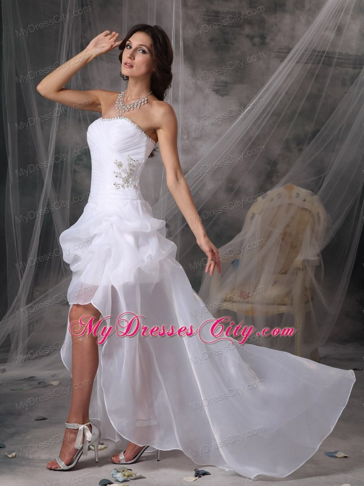 White Strapless High Low Wedding Gowns With Beading And