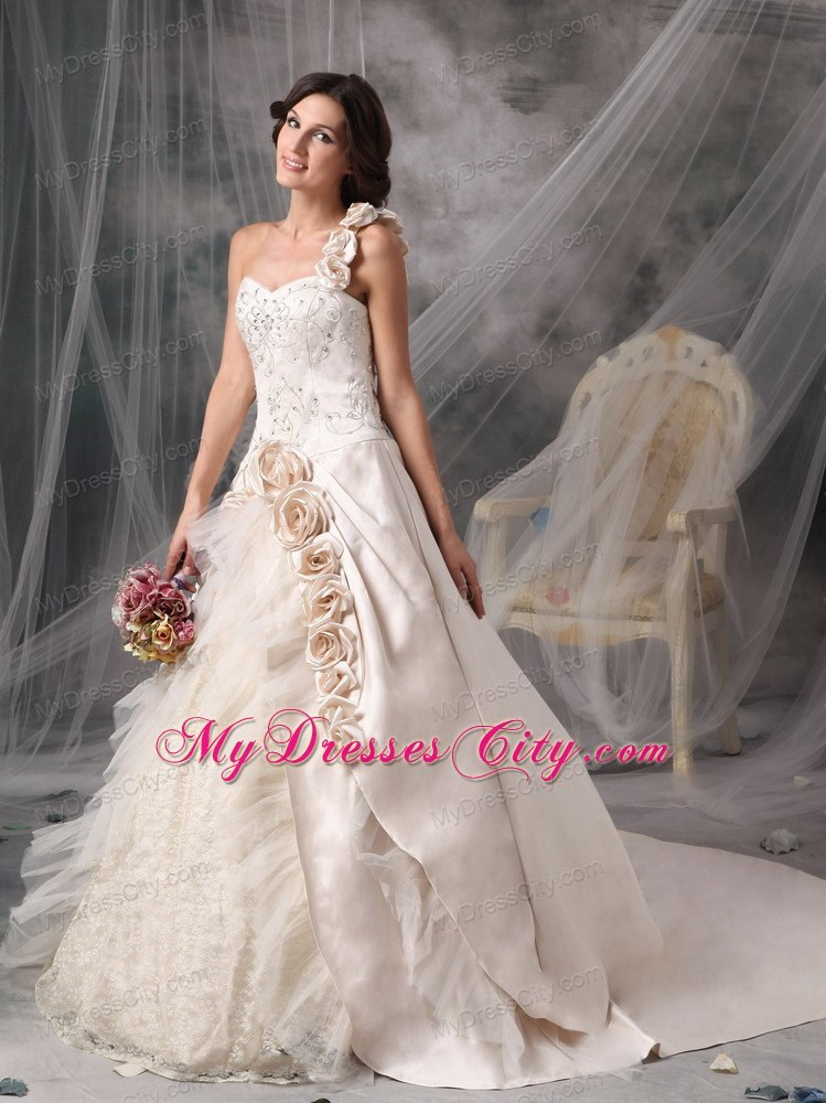 Champagne One Shoulder Chapel Train Bridal Gown With Flowers And Embroidery