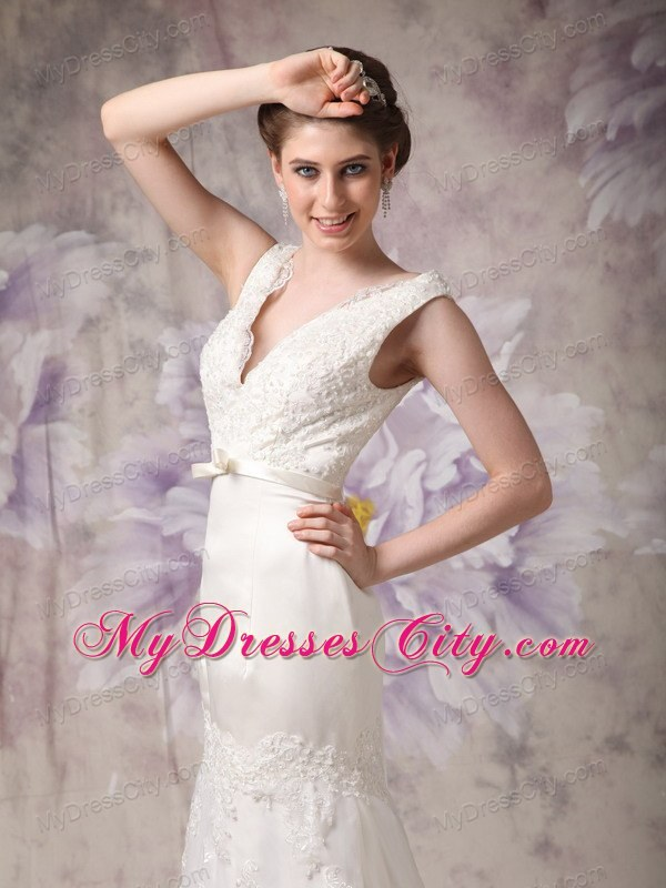 V Neck Bowknot Lace Flowers Court Train Bridal Gowns With Back Out