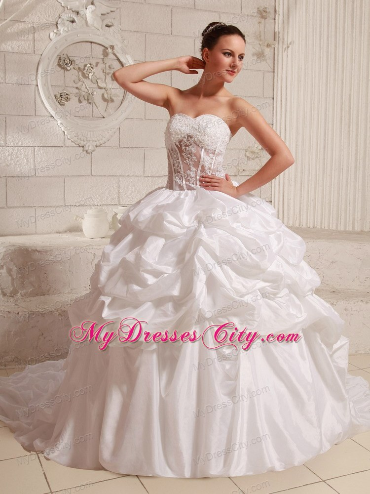 Appliques transparent waist pick ups wedding gowns with for Wedding dress large bust small waist