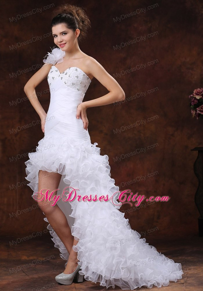 Ruched High-low Ruffled Beading Wedding Dress With Court Train ...