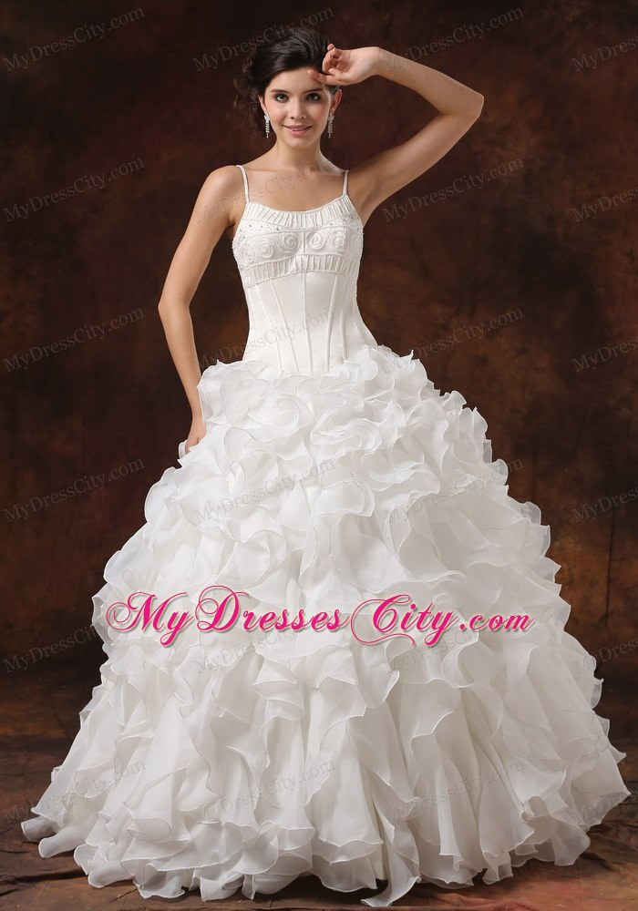 Spaghetti Straps Beaded Corset Ruffled Wedding Gown For