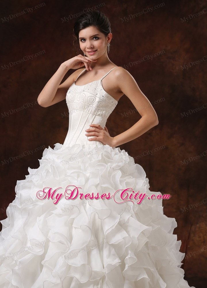 Spaghetti Straps Beaded Corset Ruffled Wedding Gown For 2013