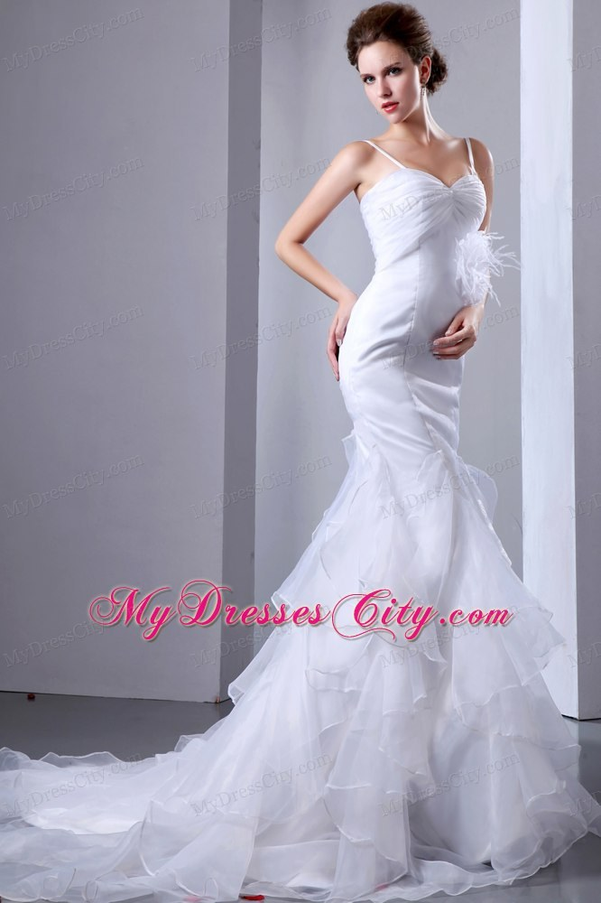 Satin Spaghetti Straps Mermaid Wedding Dress With Organza Ruffles