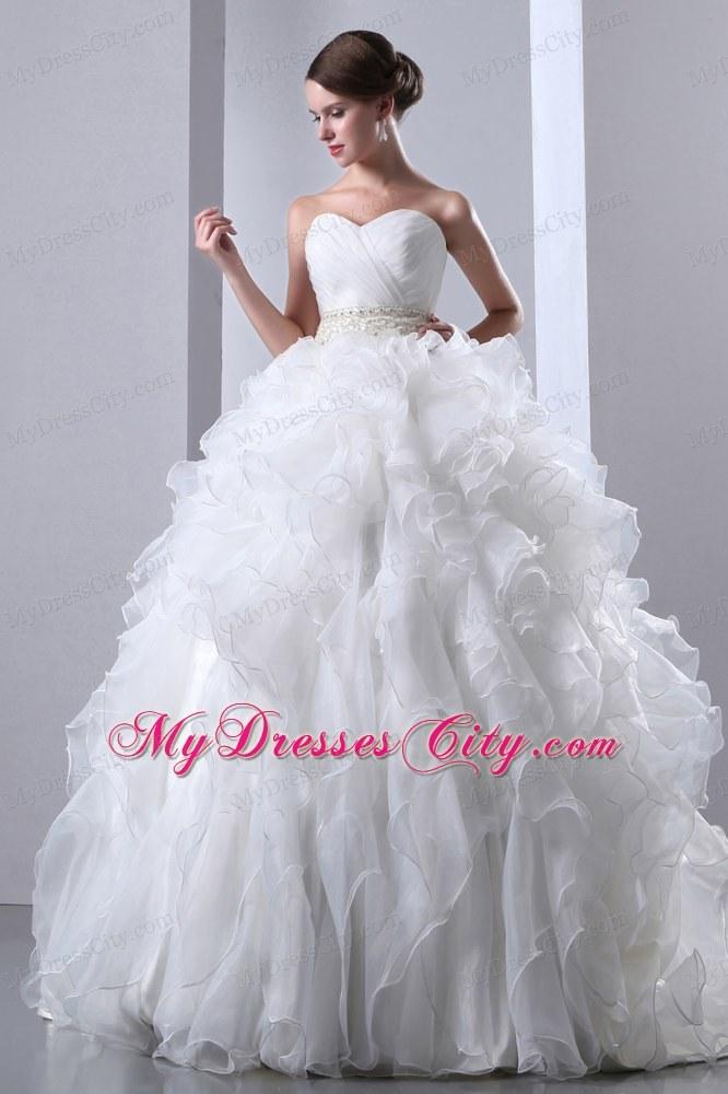 Exclusive Ruffled Chapel Train Beaded Waist Wedding Dress