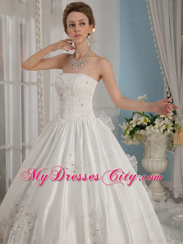 Perfect Princess Strapless Beading Cathedral Train Bridal Gowns ...