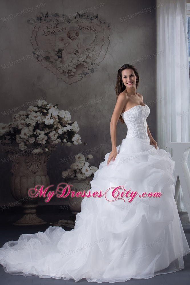 Romantic Pick Ups And Beading Brush Train Wedding Gowns Under 250