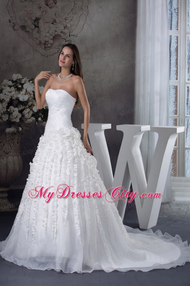 Ruched strapless a line court train bridal dresses with for Wedding dress with stripes