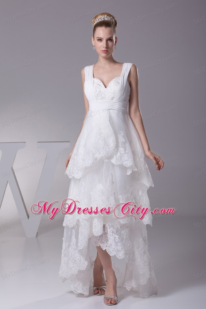 Impressive high low a line lace bridal gown with wide for Wedding dress high low