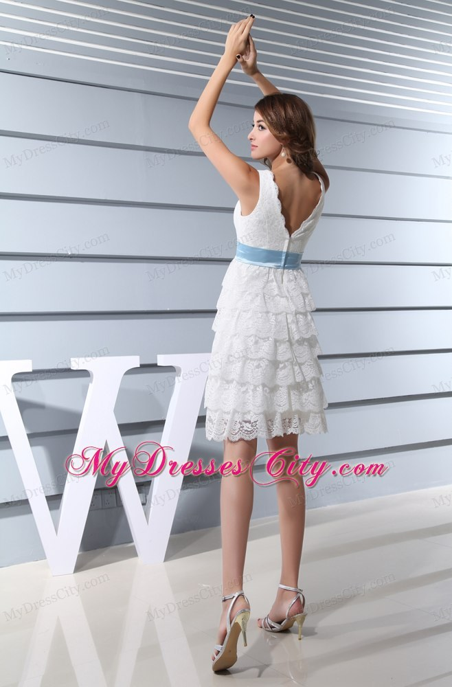 Lace V-neck Ruffled Layers Knee-length Dress for Brides for Garden ...