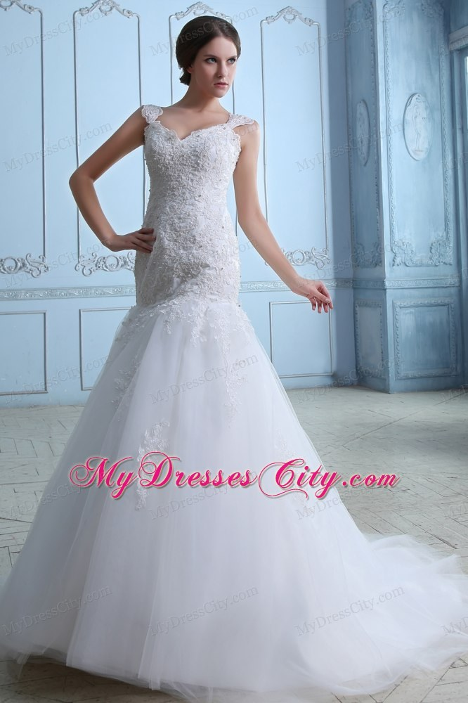 Iconic Trumpet Straps Brush Train Tulle And Lace Wedding Dress Under 250