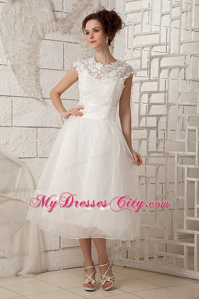 Lovely Cap Sleeves A-line Lace Scoop Tea-length Wedding Dress ...