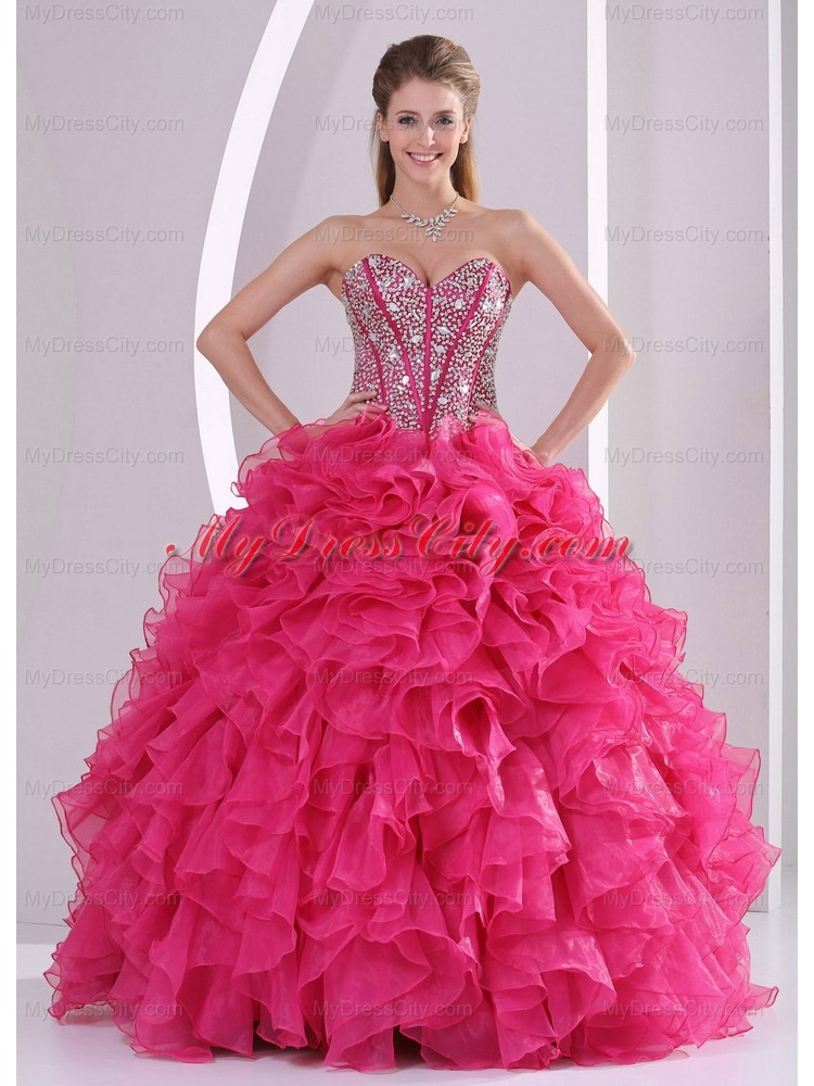 Ball Gown Sweetheart Ruffles and Beading Long Best Quinceanera Dresses