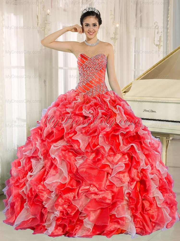 Sweethear Ball Gown Beaded and Ruffles Red Best Quinceanera Dresses