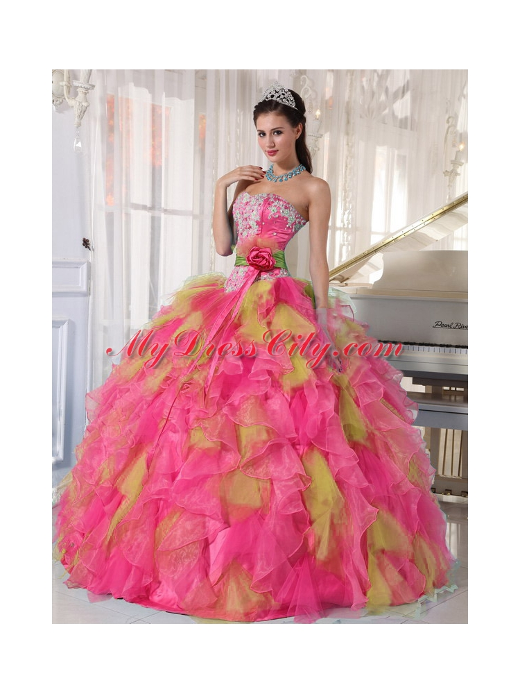 Sweetheart Organza Cheap Quinceanera Dresses with Appliques and Sash