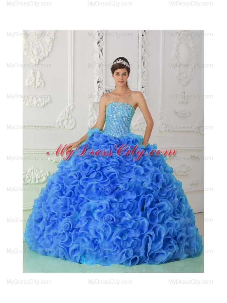 Ball Gown Beaded Royal Blue Unique Quinceanera Dresses with Strapless
