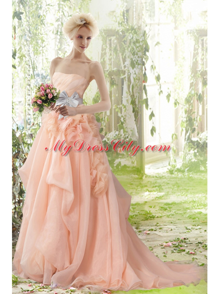 Princess peach wedding dress pictures to pin on pinterest for Peach dresses for wedding