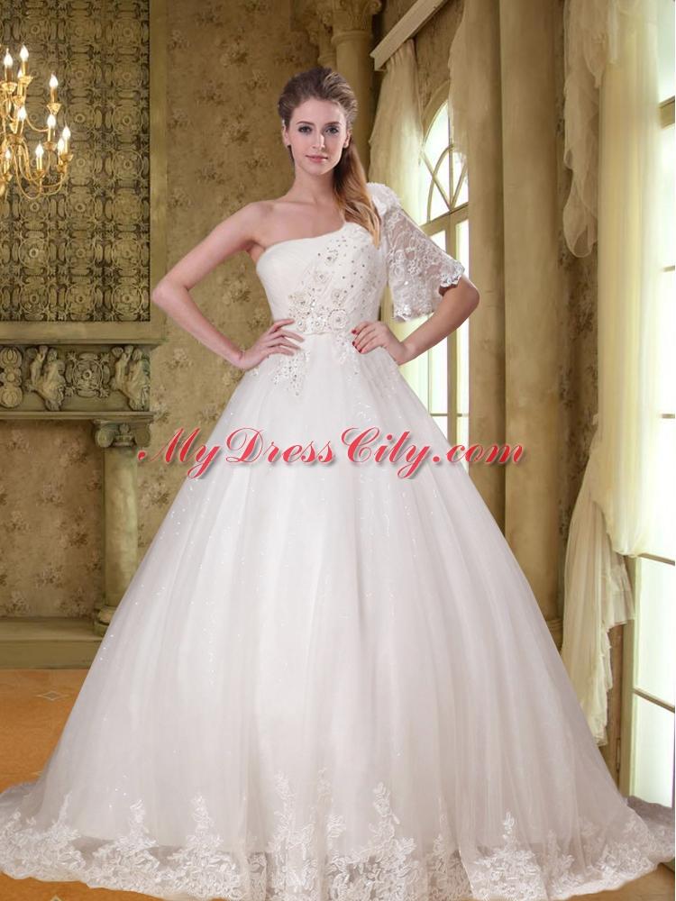 Unique beading a line lace half sleeve wedding dress with for Unique wedding dresses with sleeves