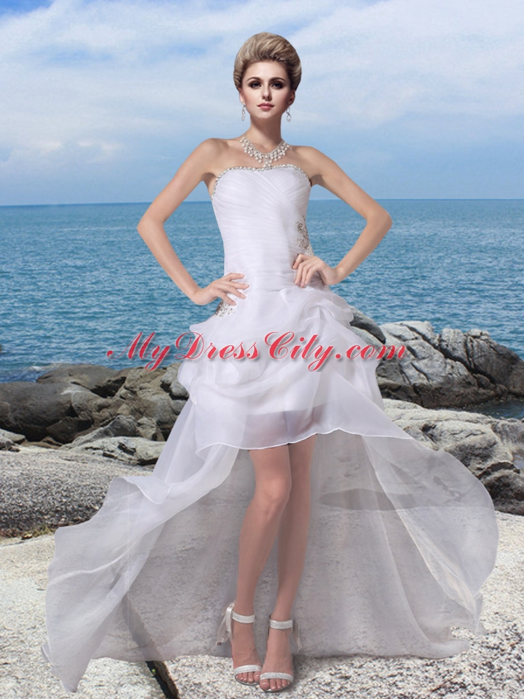 2014 cheap strapless high low beading wedding dresses for High low wedding dresses cheap