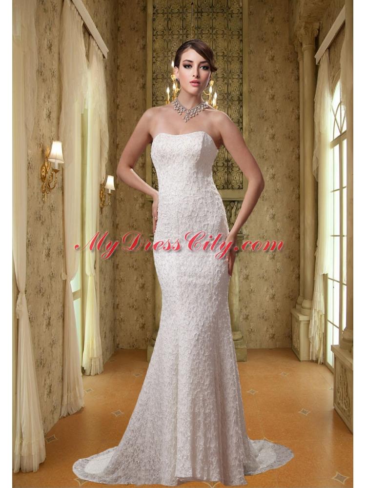 2014 white strapless mermaid lace wedding dress with brush