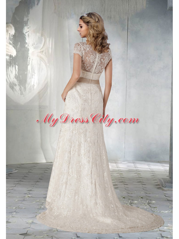 2014 Pretty Short Sleeves Wedding Dress with Lace