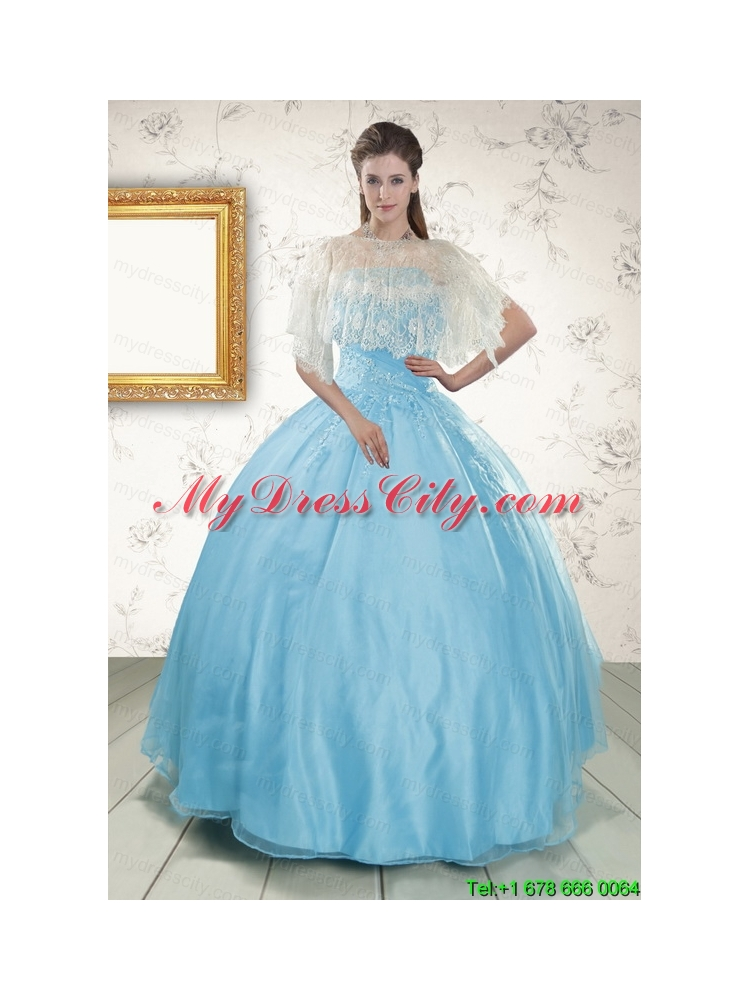 2015 Discount Baby Blue Strapless Quinceanera Dress with