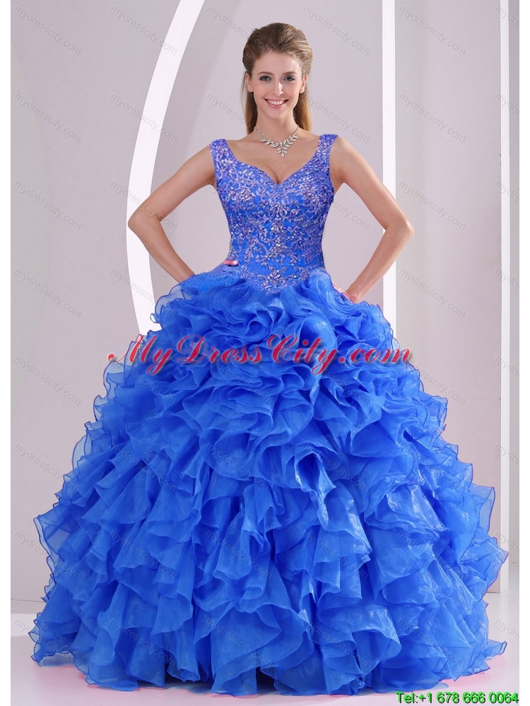and Pretty Beading and Ruffles Royal Blue Sweet 16 Dresses