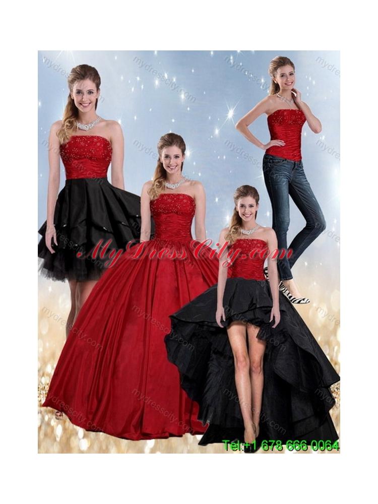 Beaded Strapless Ball Gown 2015 Classic Quinceanera Dress in Red and ...