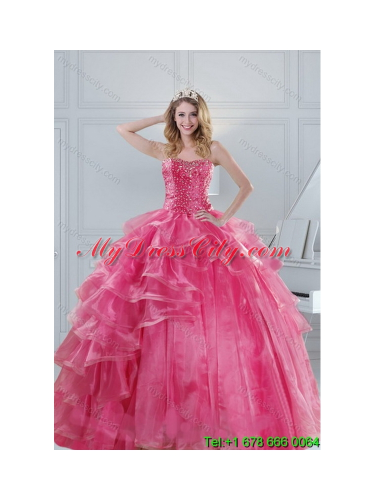 2015 Hot Selling Pink Dresses for Unique Quinceanera with Beading ...