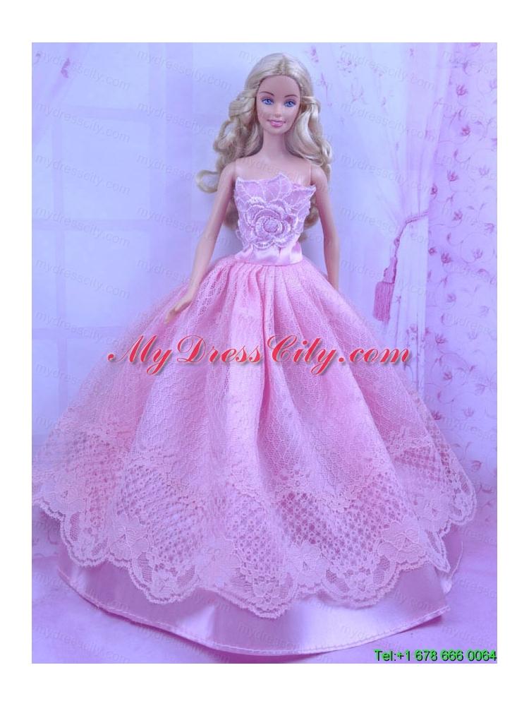 Beautiful Pink Princess Dress With Lace Made To Fit the ...  Beautiful Pink Princess Dresses