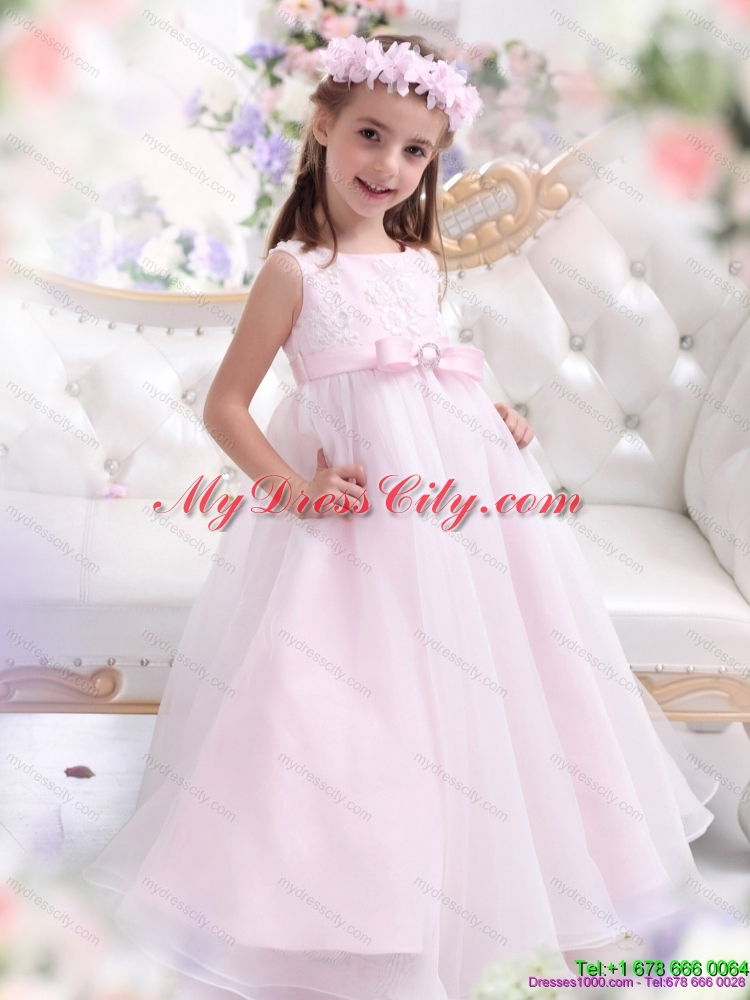 Latest new stylish popular flower girl dresses for less latest scoop appliques and bownot flower girl dresses in baby pink mightylinksfo