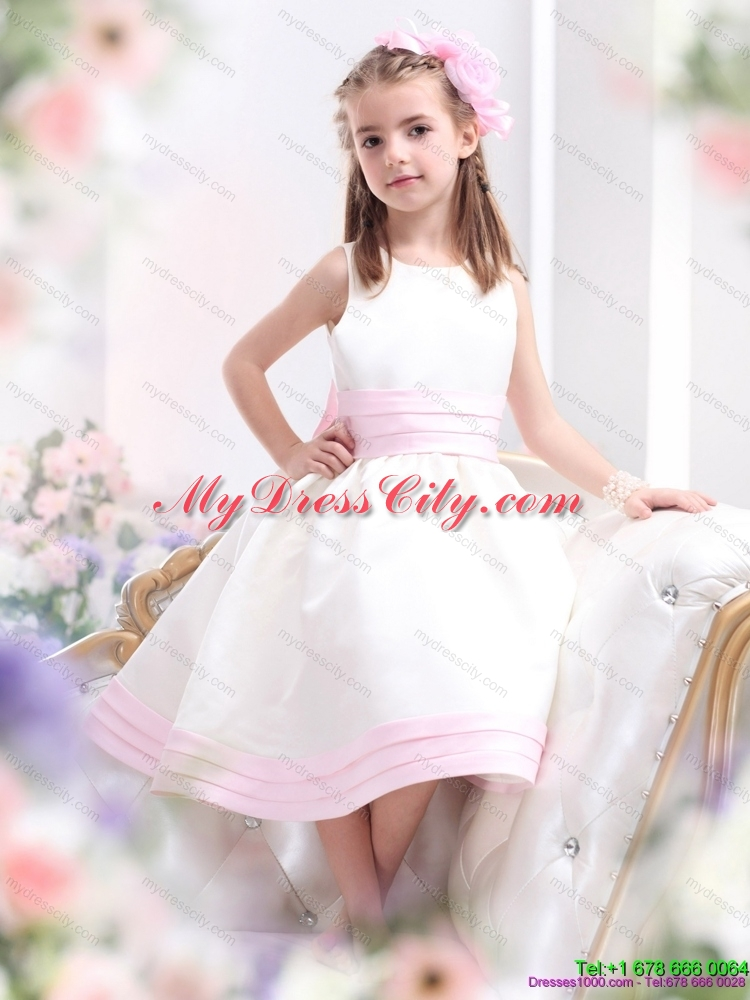 Long high end affordable latest flower girl dresses latest white scoop flower girl dress with light pink bownot mightylinksfo