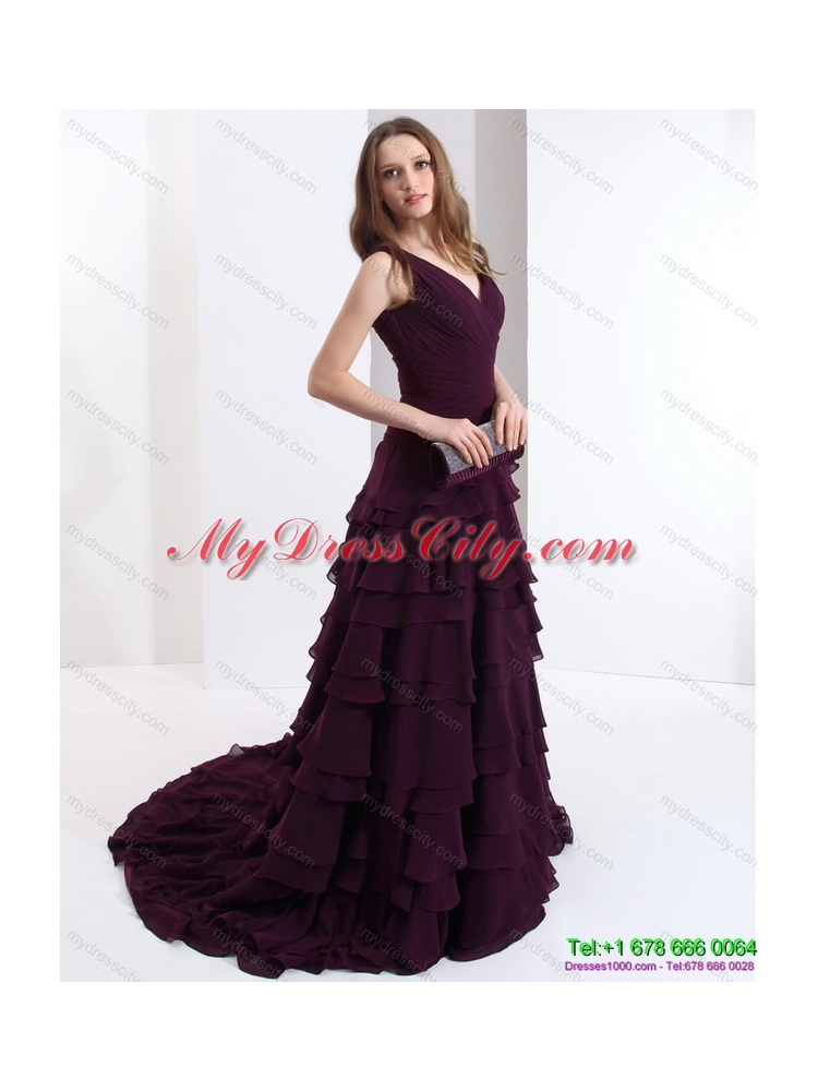 Classical V Neck Prom Dress in Dark Purple for 2015 ...