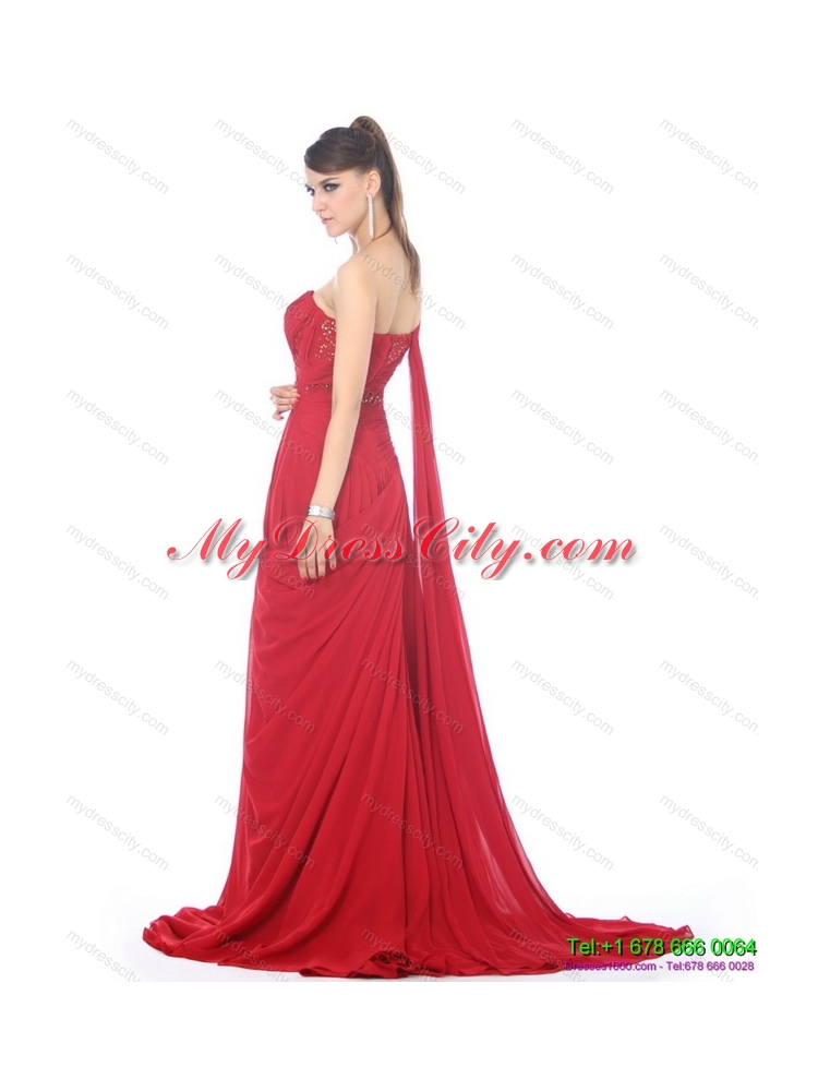 2015 Romantic Beading and Ruching Prom Dress with Watteau Train