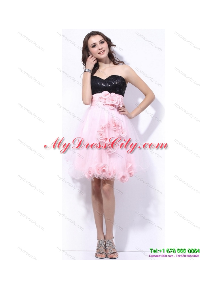 Sweetheart Sequins and Hand Made Flowers Prom Dresses in Pink and Black
