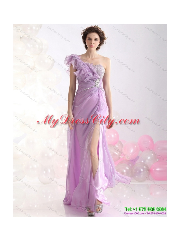2015 Designer Empire One Shoulder Prom Dress with Beading and High Slit
