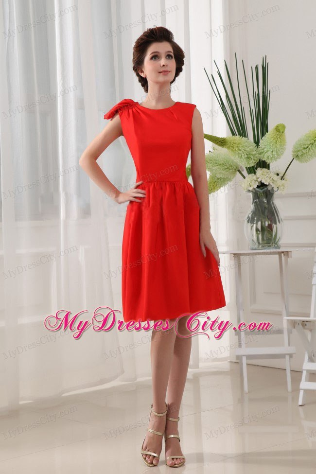 A-Line Knee-length Red Homecoming Dress with Scoop Neckline ...