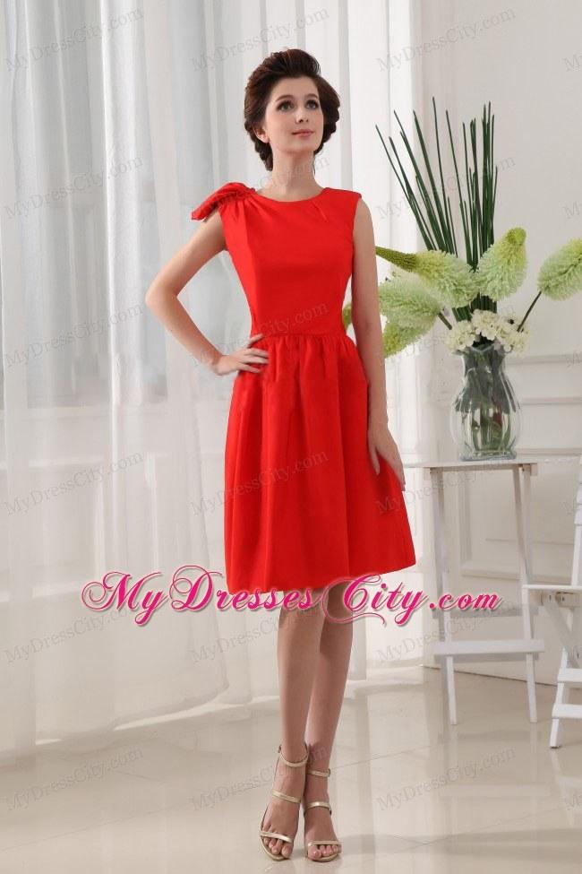 Red Knee Length Chiffon Dress